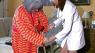 BBW plump Nurse masturbate with old Grannie