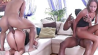 Fit to Fuck Russian Babes - 2on2 Black on White Anal Sex with DP